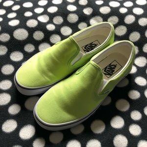 Vans sharp green slip on